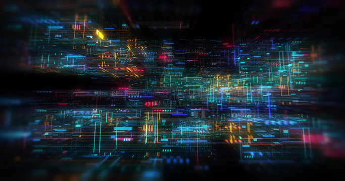 abstract futuristic technological background, floating circuits, charts, digits elements. Nano chip circuit, modern micro electrons on digital gadget board 3D render