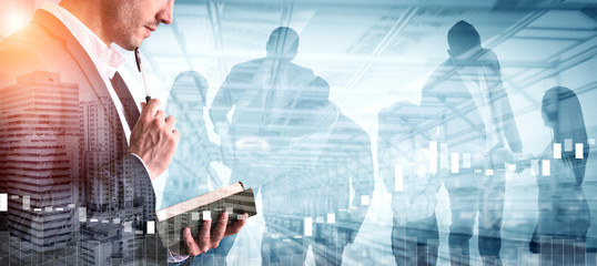 Double Exposure Image of Business Person on modern city background. Future business and communication technology concept. Surreal futuristic cityscape and abstract multiple exposure graphic interface. Wall mural
