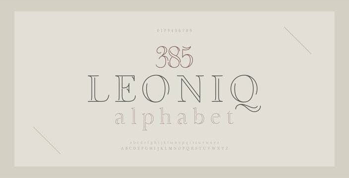 Elegant alphabet letters serif font and number. Classic Lettering Thin Line Minimal Fashion. Typography thin line fonts uppercase, lowercase and numbers. vector illustration