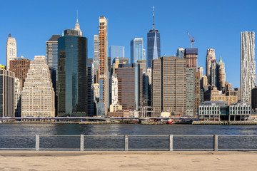 Fototapete - Scene of New york cityscape river side which location is lower manhattan,Architecture and building with tourist concept