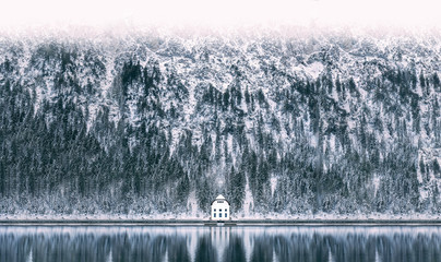 Winter at Plansee Lake in Austria