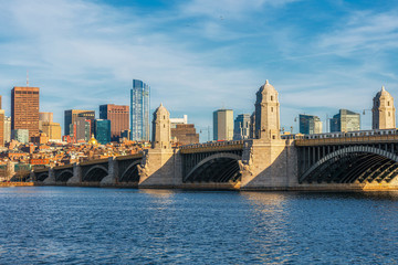Longfellow Bridge over the charles river at the evening time, USA downtown skyline, United states of America, Architecture and building with transportation concept