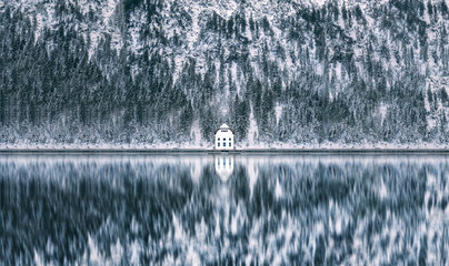 Hut on Lake Plansee in Austria during Winter