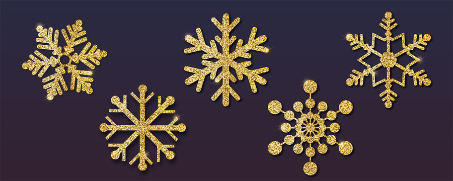 Set of Christmas snowflakes, different shapes. Golden snowflakes with golden dust and glitter. Isolated on dark background. Vector 3d illustration, EPS10.