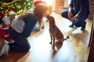 Young beautiful couple smiling happy and confident. Playing with dog around christmas tree at home