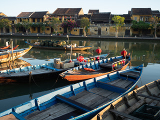 Wooden Fishing Boats in the Thu Bon River Photographed at the Golden Hour