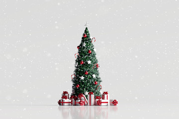 Falling snow and christmas tree with gift box on white background. 3d rendering Fotobehang