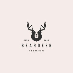 bear deer logo hipster retro vintage vector for branding or merchandise and t shirt design