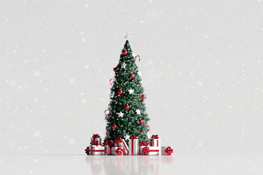 Falling snow and christmas tree with gift box on white background. 3d rendering