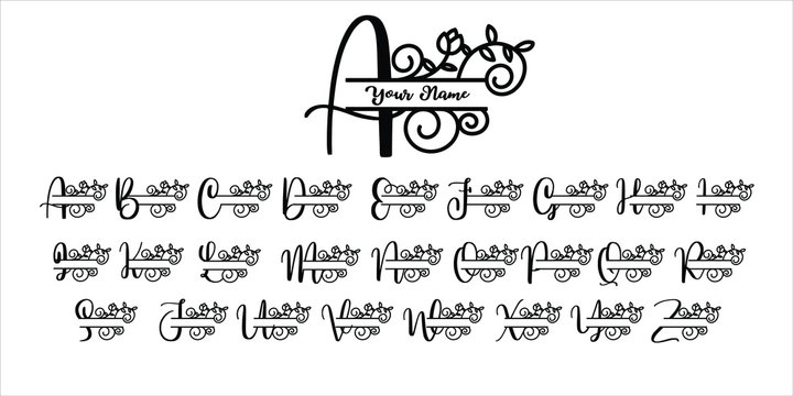 decoration letter monogram, sign monogram name