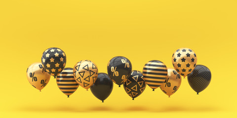 Black Friday. Balloons black with gold percent on a golden background. 3d render illustration.
