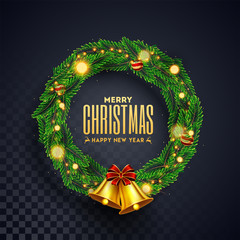 Christmas wreath with golden jingle bell on black transparent background for Merry Christmas & Happy New Year celebration.