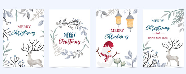 Wall Mural - Collection of Christmas background set with leaves,flower,reindeer.Editable vector illustration for New year invitation,postcard and website banner