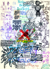 Poster Imagination Manuscripts with esoteric, scientific, astrological and alchemical symbols and designs. Mysterious pages of sketches, writings, and projects