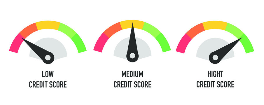 Credit score hight, medium and low concept isolated on white. Vector illustration