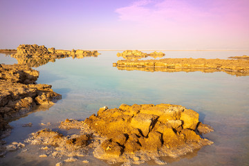 Fototapete - Dead Sea salty shore in the morning. Beautiful nature. Nature landscape