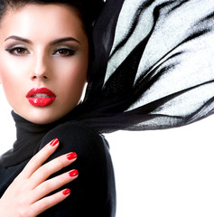 Wall Mural - Beautiful young woman with waving scarf.