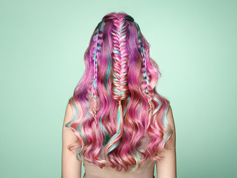 Beauty Fashion Model Girl with Colorful Dyed Hair. Girl with perfect  Hairstyle. Model with perfect Healthy Dyed Hair. Rainbow Hairstyles