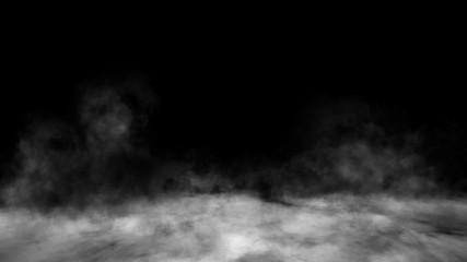 Smoke on the floor . Isolated black background. Design element.