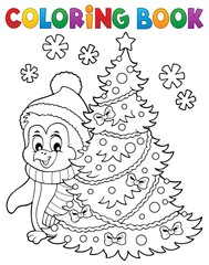 Acrylic Prints For Kids Coloring book Christmas penguin topic 6