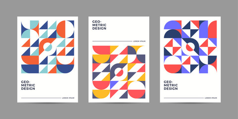 Placard templates set with Geometric shapes, Retro geometric style flat and line design elements. Retro art for covers, banners, flyers and posters. Eps10 vector illustrations