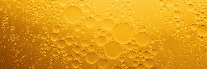 Yellow coocing Oil bubble on water.