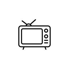 Tv icon outline television line old retro  tv symbol vector image