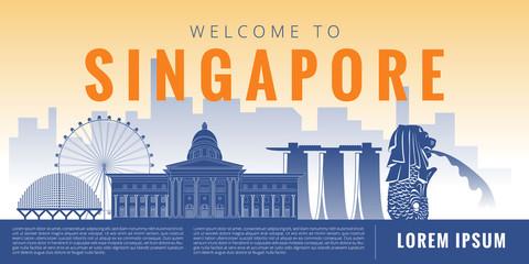 Singapore ciry landmark landscape vector graphic design