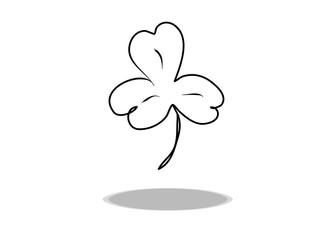 Shamrock icon, flat design, hand drawing. Illustration leaf, contour of symbol black