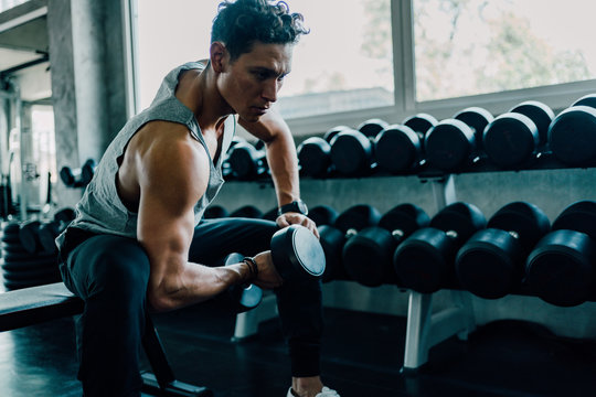 Man Execute Exercise with Dumbbells in Gym.