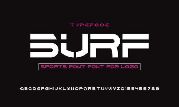 Sport Modern Stencils Font and alphabet. Typography urban style fonts for technology, digital, movie logo design. vector illustration