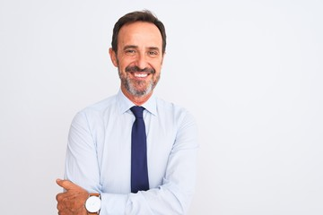 Middle age businessman wearing elegant tie standing over isolated white background happy face smiling with crossed arms looking at the camera. Positive person.