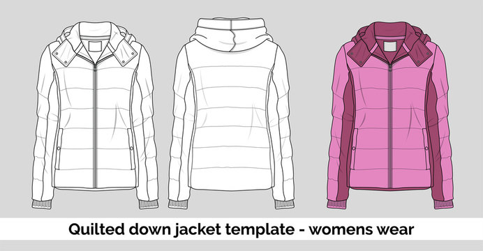Quilted down jacket template for women wear