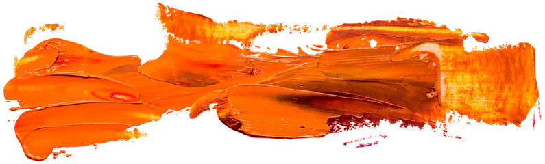 Hand drawn isolated paintbrush stripe with orange color oil. Splatter paint texture. Distress rough background.