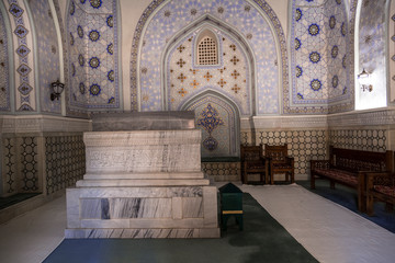 Interior of the mausoleum of Sheikh Shamseddin Kulyal is a tomb that is part of the Dorut Tilavat memorial complex. Shahrisabz, Uzbekistan