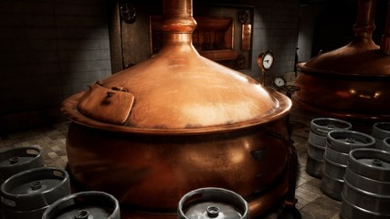 The premises of the brewery with boilers, in which the cooked wort. Old brewery. 3D Rendering