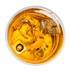 Foto auf Leinwand Alkohol Whiskey glass with ice cubes, top view