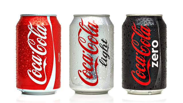 Los Angeles, California - May 17, 2019: Classic, Light and Zero Coca-Cola cans on White Background. Coca-Cola Company is the most popular market leader in USA