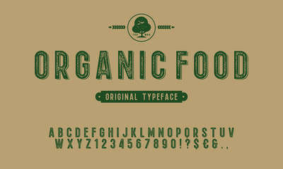 Hand Drawn Rustic Farm Fresh Vector Typeface.Organic alphabet with imprint effect. Retro grunge marker for organic packaging design. Stamp lettering.Vintage Retro Textured Decorative Type. Papier Peint