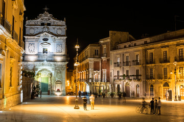 Night shot of central square in beautiful ancient Italian city (Syracuse) on the island of Sicily