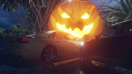 Photo sur Plexiglas Bordeaux Night landscape with a mystical fog, rainy road, cars on the highway, glowing scary pumpkin on a foggy night in the woods on a wet track. 3D Rendering