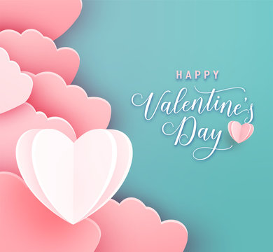 Happy valentines day greeting background in papercut realistic style. Paper clouds and heart at left side. Poster party invitation template. Calligraphy words text sign on copy space