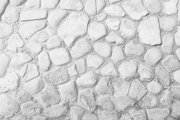 old stone pavement background / abstract pavement, large cobblestones, old road texture Fototapete