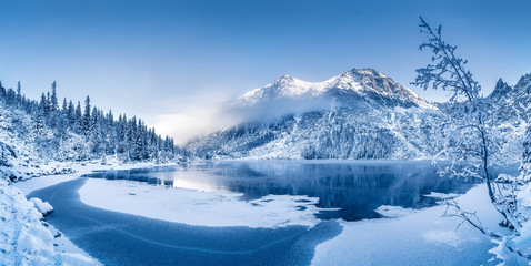 Poster Mountains Winter panoramic landscape with scenic frozen mountain lake