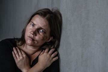 Fototapeta Portrait of the woman victim of domestic violence and abuse. Empty space for text obraz