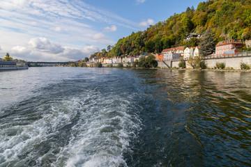Danube river in Passau, Bavaria, Germany in autumn