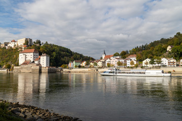 View at Fortress Veste Oberhaus and Danube shore in Passau, Bavaria, Germany in autumn