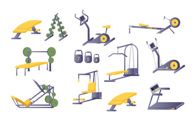 Equipment for active healthy lifestyle cartoon vector