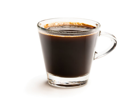Black coffee in glass cup isolated on white
