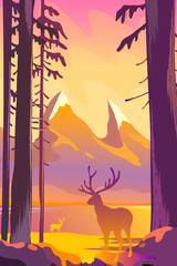 Beautiful autumn landscape flat design concept. Deer standing in the forest on a background of mountains. Wild nature vector illustration.